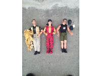 3 x action man figures....army, desert army and karate.karate man has spinning kick.