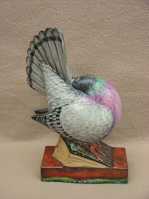 ANTIQUE FRENCH LIMOGES ART DECO PORCELAIN FIGURINE NIGHT LAMP PIGEON HANDPAINTED