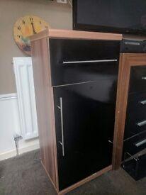 Oakwood and black gloss storage unit