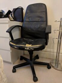Free: Black leather desk chair (quite worn out)