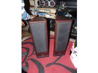 Pair Tannoy 633 powerful stereo speakers floor-standing rosewood home cinema monitor
