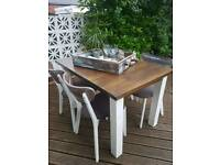 Extending shabby chic dining table and chairs