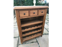 Solid Pine Shelf Unit With Wine Rack And Drawers - 3 Drawers Over Shelf / Wine Rack For 18 Bottles