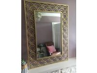 Brand new Art Deco Style metal framed wall mirror