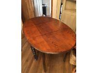 Gate leaf table, solid oak, barley twist legs