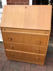 Mid century veneer bureau / writing desk
