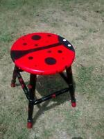 one of a kind hand painted ladybug stool $30 obo