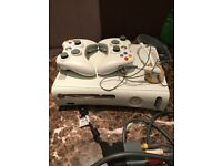 Xbox 360 console 2 controllers headphones variety of games