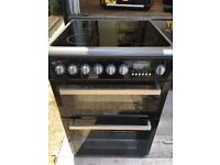 Hotpoint EW74 60cm Double Electric Cooker in Black & Silver #3765