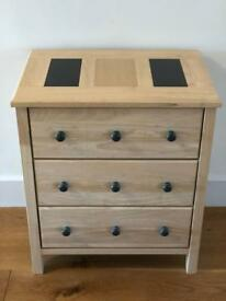 Wooden DVD/CD Storage Unit Chest of 3 drawers with marble inserts