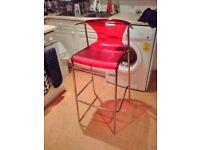 IKEA red cafe/bar chair (elmer)