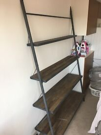 reclaimed wood and metal shelves from restoration hardware