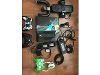 Boxed XBOX 360 bundle, games, controllers, driving wheel, headset, fan, charging dock