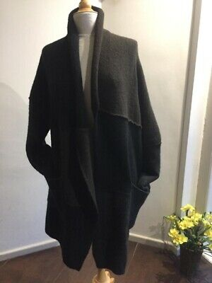 Isabel Benenato Black, Grey and Brown Long Line Cardigan Coat Merino/yak Wool