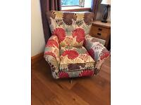 Beautiful floral swivel armchair and footstool