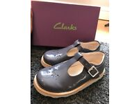 Clark's T Bar Grey Patent Shoes