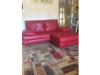 Italian Design DFS soft red leather sofa with chrome square frame legs & matching pouffe