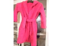 Red Fleece Hooded Dressing Gown Marks and Spencer Size 4-5 Great Condition