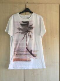 White Print T Shirt