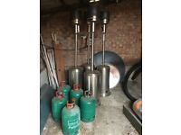 Patio heater with gas bottle.