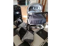 Double pram pushchair matching baby bag matching car seats rain cover foot muffs excellent condition