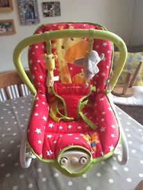 Mothercare Little Circus vibrating baby seat, barely used, great condition