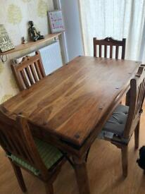 Solid Italian wood dining table and 4 chairs