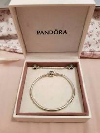 Genuine Pandora Sterling Silver Bracelet & Safety Chain