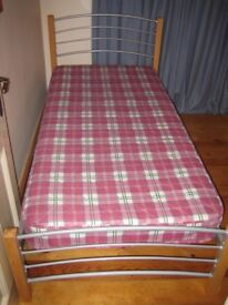 Contemporary light wood and metal frame single bed with mattress infrequent use