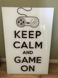 GLASS PICTURE KEEP CALM AND GAME ON