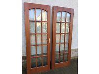 Solid hardwood and glass internal double doors