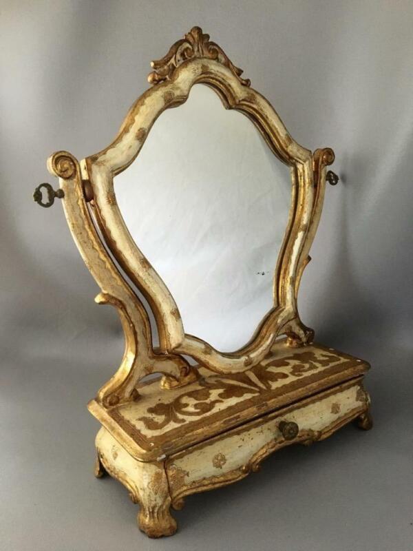 ANTIQUE SHABBY VTG CHIC ITALIAN FLORENTINE GOLD GILT TOLE WOOD VANITY MIRROR
