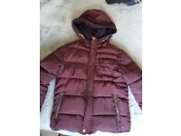 Boys Burgandy and Navy Autumn/Winter Jacket Age 6-7