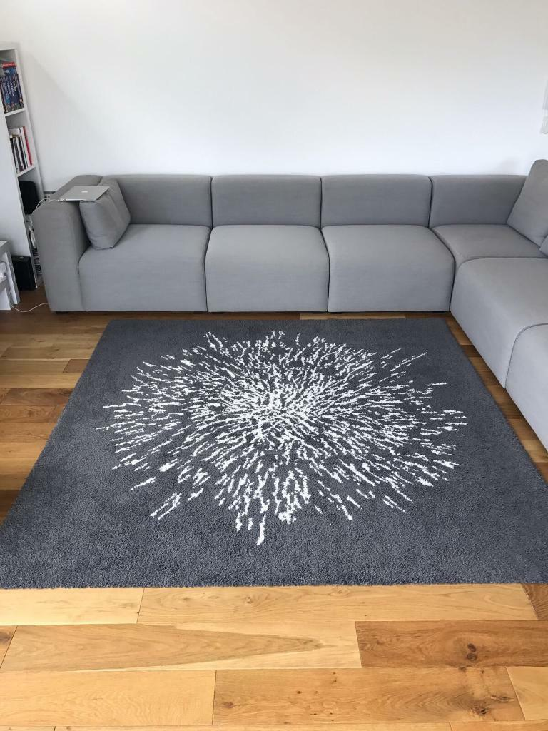 Ikea grey white square rug 200cm x 200cm in london for Grey rug ikea