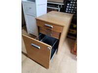 2 oak finish filing cupboards with drawers