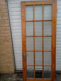 FREE Wood and glazed interior door in used condition, 30inches x 77inches Georgian pane style