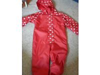 Red Spotted Rain Suit 18-24 months