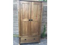 Rustic solid wood double wardrobe great condition