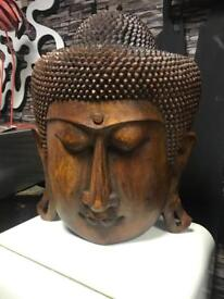 Massive hand carved wooden Buddha