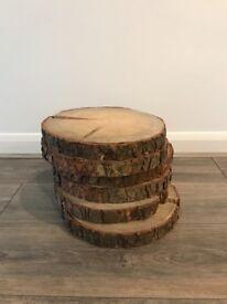 Wooden log slices