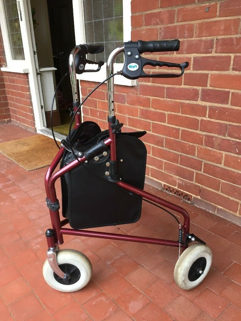 3 wheel walking aide, with easy grip looped brakes and bag and detachable basket.