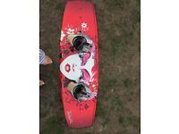 Hyperlight wakeboard and size 7 women's bindings