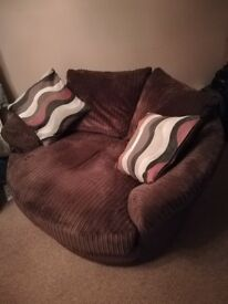 Pet free and non smoker Corner sofa and swivel chair. Great condition £300 just over a year old.