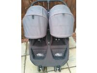 Double Baby jogger pram with compact carry cot