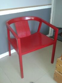 WIDE HARDWOOD CHAIR.CARVER STYLE. VERY SOLID/HEAVY. RED.