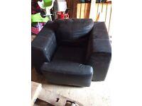 Black leather modern armchair