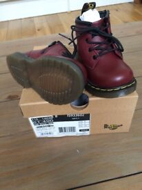 Brand New Unworn Dr Martens Boots Infant size 4 Cherry Red Leather