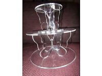 NEW UNUSED CAKE STANDS SEPARATOR BUTTERFLY CLEAR ACRYLIC 2 TIERS ROUND