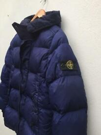 Stone island navy blue junior coat