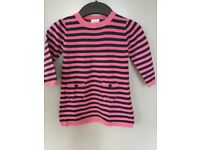 Next pink stripy cotton dress, 12-18 months